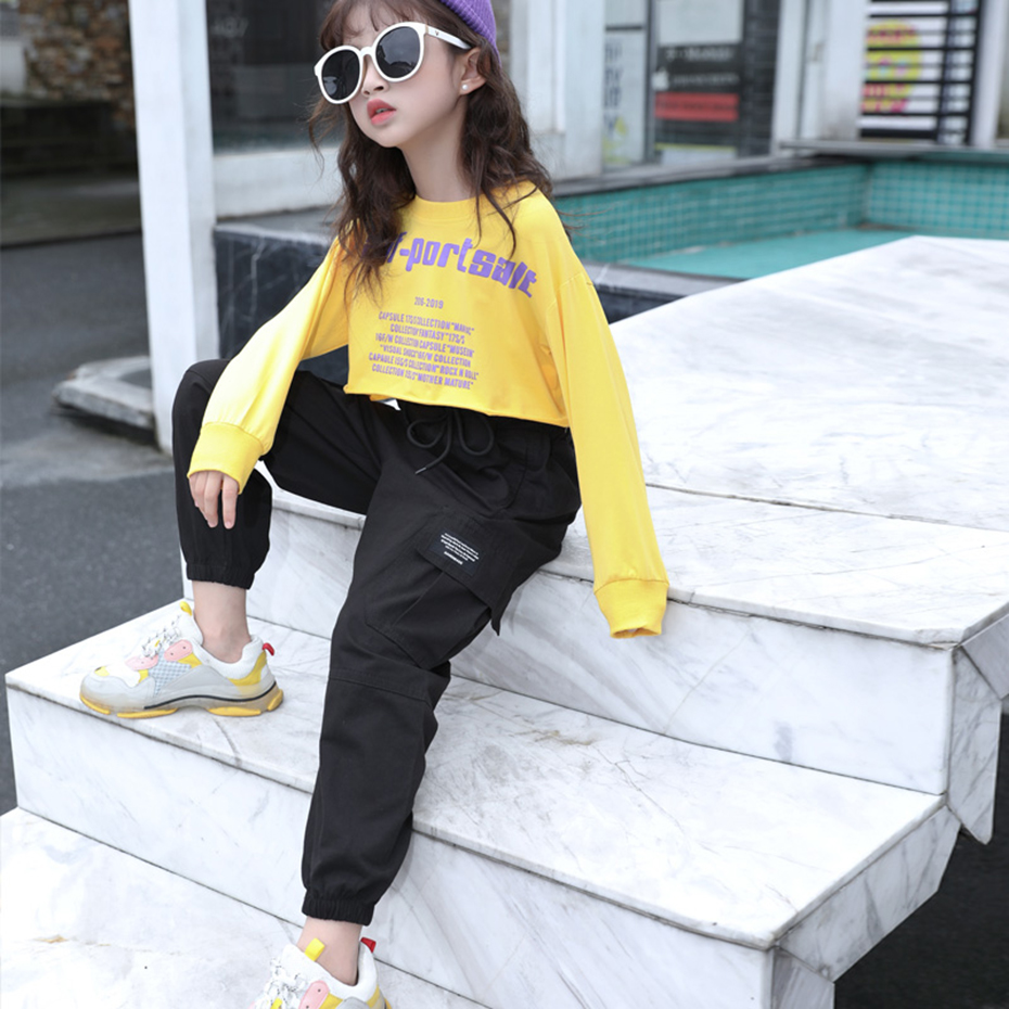 Cargo Pants For Girls Letter Sport Trousers Girl Patchwork Child Pants Casual Style Kid Clothes For Girls 6 8 10 12 14 3