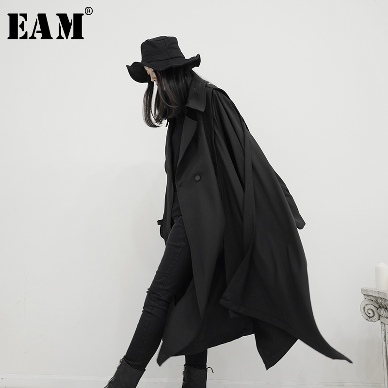 [EAM] Women Black Asymmetrical Stitch Big Size Trench New Lapel Long Sleeve Loose Fit Windbreaker Fashion Tide Spring 2020 1S242