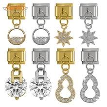 Bracelet Jewelry Links-Fit Charm Daisy Cz-Star Hapiship Fashion Stainless-Steel DJ240