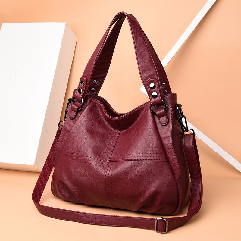 WOMEN'S Leather Handbag 2019 New Style European And American Style JOINT WOMEN'S Bag Simple Cowhide Big Bag