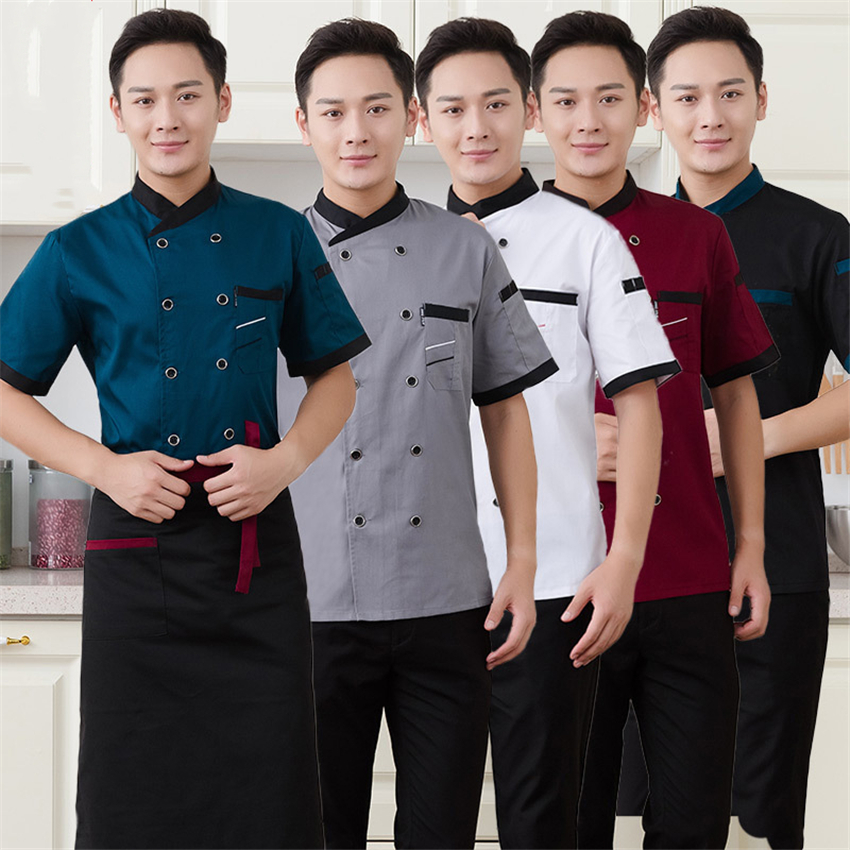 Adult Chef Food Service Work Wear Short Sleeve Breathable Cook Kitchen Restaurant Coffee Shop Double Breasted Chef Jacket