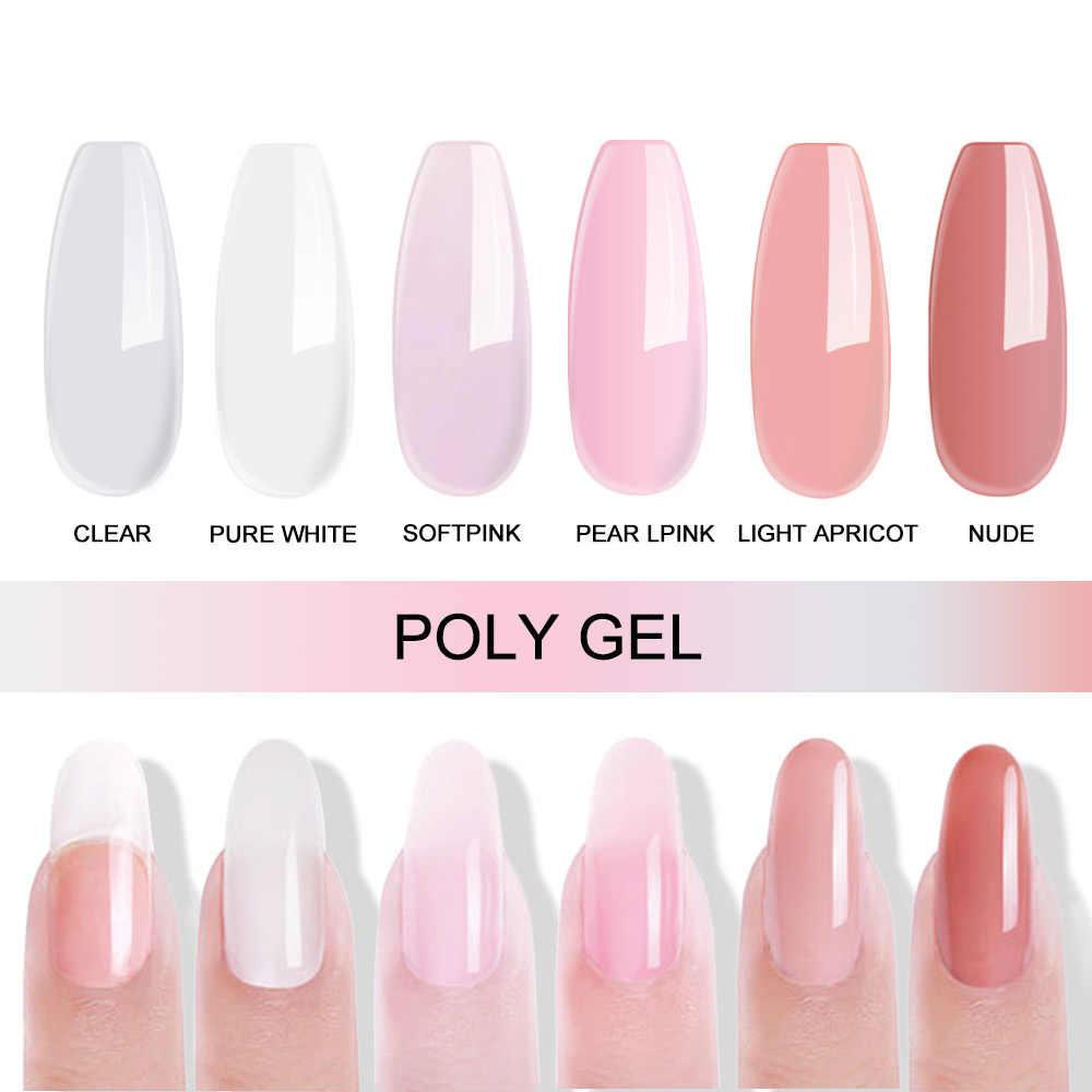 Mizhse Thermische Poly Uv Nail Gel Quick Extension Gel Vernis Clear Roze Jelly Polygel Kristal Uv Led Gebouw Gel Nodig vormen
