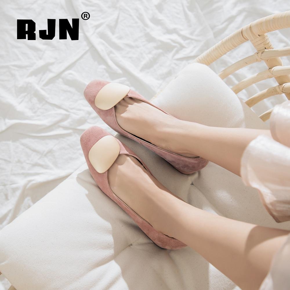 New RJN Comfortable Kid Suede Women Pumps Stylish Applique Elegant Square Toe Low Heel Slip-On Shoes Mixed Color Shollow Pumps RO56