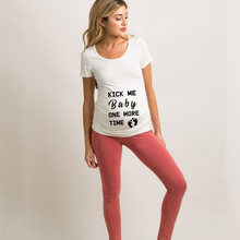 Kick Me Baby One More Time Print Women Maternity Clothing Pregnant Short T Shirt Funny Top Pregnant Clothes Outfits New(China)