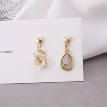 Korean Japanese Simulated Pearl Opal Long Drop Earrings for Women Gold Color Metal Shiny CZ Crystal Statement Earrings Jewelry korean japanese simulated pearl opal long drop earrings for women gold color metal shiny cz crystal statement earrings jewelry