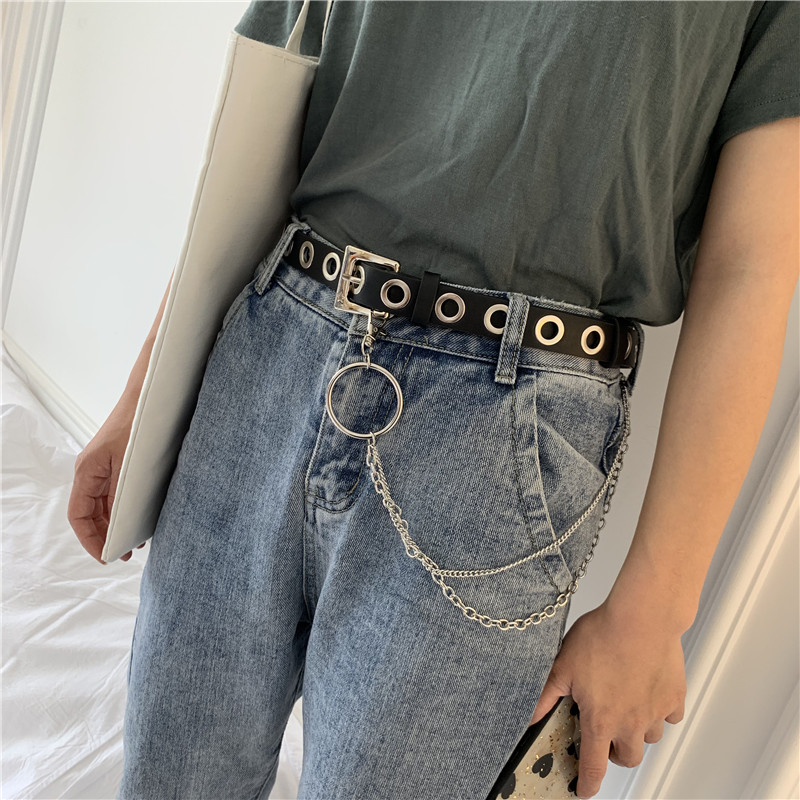Punk PU Leather Women Belts Leopard Snake Pattern Single Row Hole Pin Buckle Chain Waist Belt Jeans Female Decorative Waistband