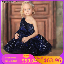 Kids Glitter Party Dresses Puffy Navy Blue Girl Sequin Princess Dress One Shoulder Kids Baby Prom Ball Gown Flower Girl Dresses