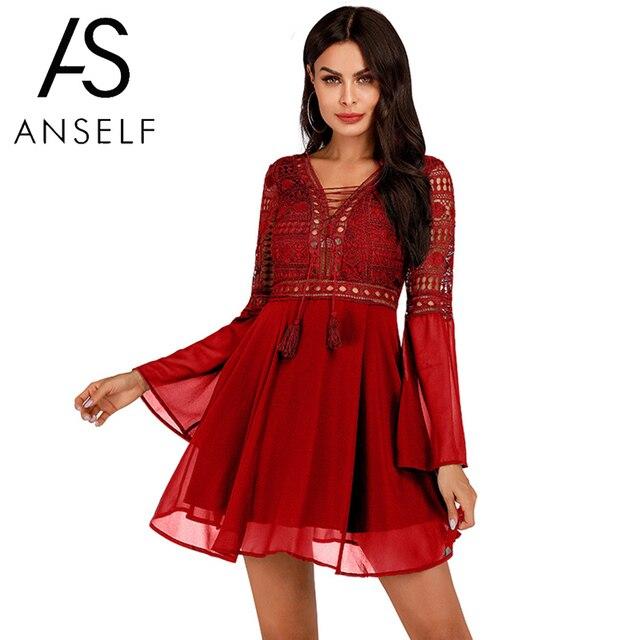 Женское платье с v-образным вырезом Anself, шифоновое мини-платье с длинным рукавом, элегантное белое повседневное кружевное платье в стиле бохо 5