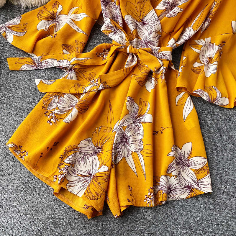 Red,M Womens Printed Dress Sling Printed Bandage Waist Short Jumpsuit Causal Printed Rompers