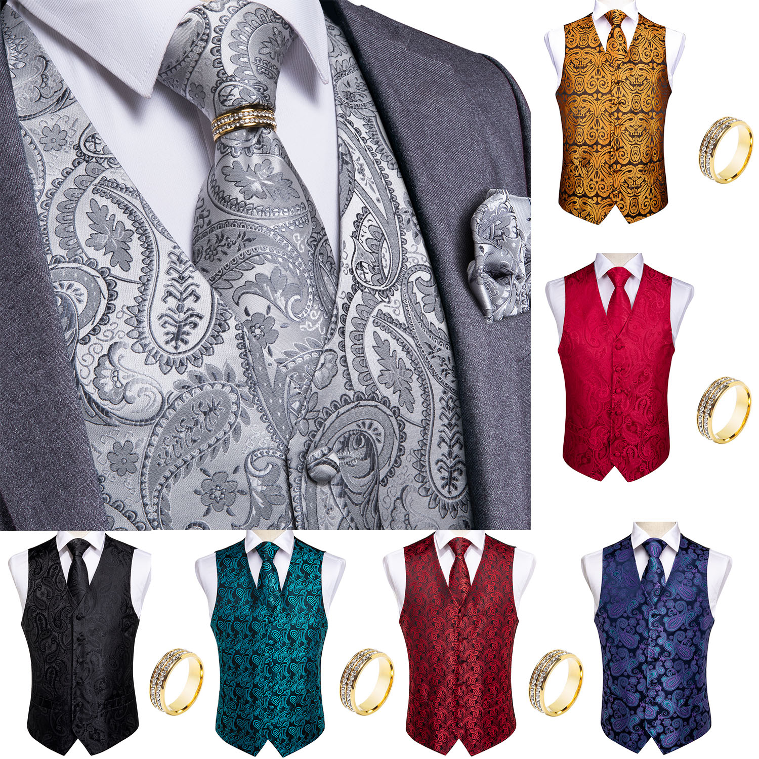 Men Vest Tie Set Classic Wedding Paisley Black Gold Paisley Tuxedo Suit Vest Formal Dress Mens Waistcoat Vest Homme DiBanGu
