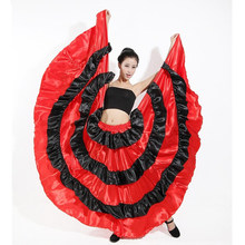 Wanita Spanyol Flamengo Belly Dance Dress Halloween Kostum Cosplay Flamenco Tahap Kinerja Pakaian Pesta Spanyol Satin Rok Merah(China)