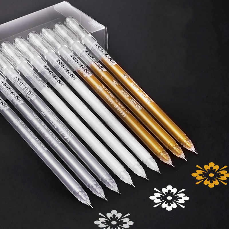 3 sztuk o dużej pojemności 0.6mm wodoodporny biały długopis żelowy marker do zakreślania szkic do rysowania artystycznego markery projekt komiksu Fine Liner Pen