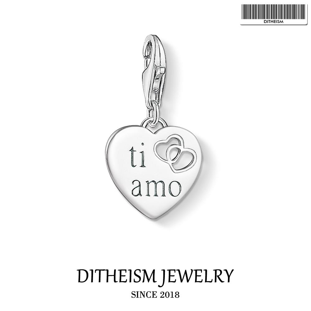 TI AMO Heart Charm Pendant,2019 Fashion Jewelry 925 Sterling Silver Romantic Love Gift For Women Men Fit Bracelet Necklace
