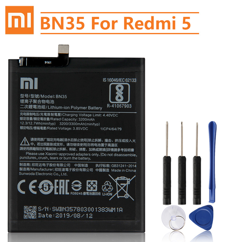 Xiao <font><b>Mi</b></font> Original Replacement <font><b>Battery</b></font> BN35 For Xiaomi <font><b>Mi</b></font> Redmi <font><b>5</b></font> <font><b>5</b></font>.7