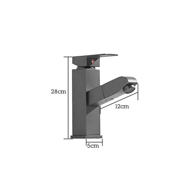 Robinet dévier de salle de bain en laiton gris profond de Style nordique robinet mitigeur deau chaude froide de bassin gris carré monté sur pont B3407