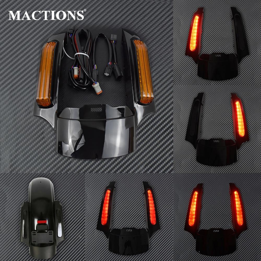 Moto HA CONDOTTO LA Luce Posteriore Parafango Estensione Fascia Set Per Harley Touring Electra Road Glide 2014-Up FLTRXS Ultra Limitata FLHX