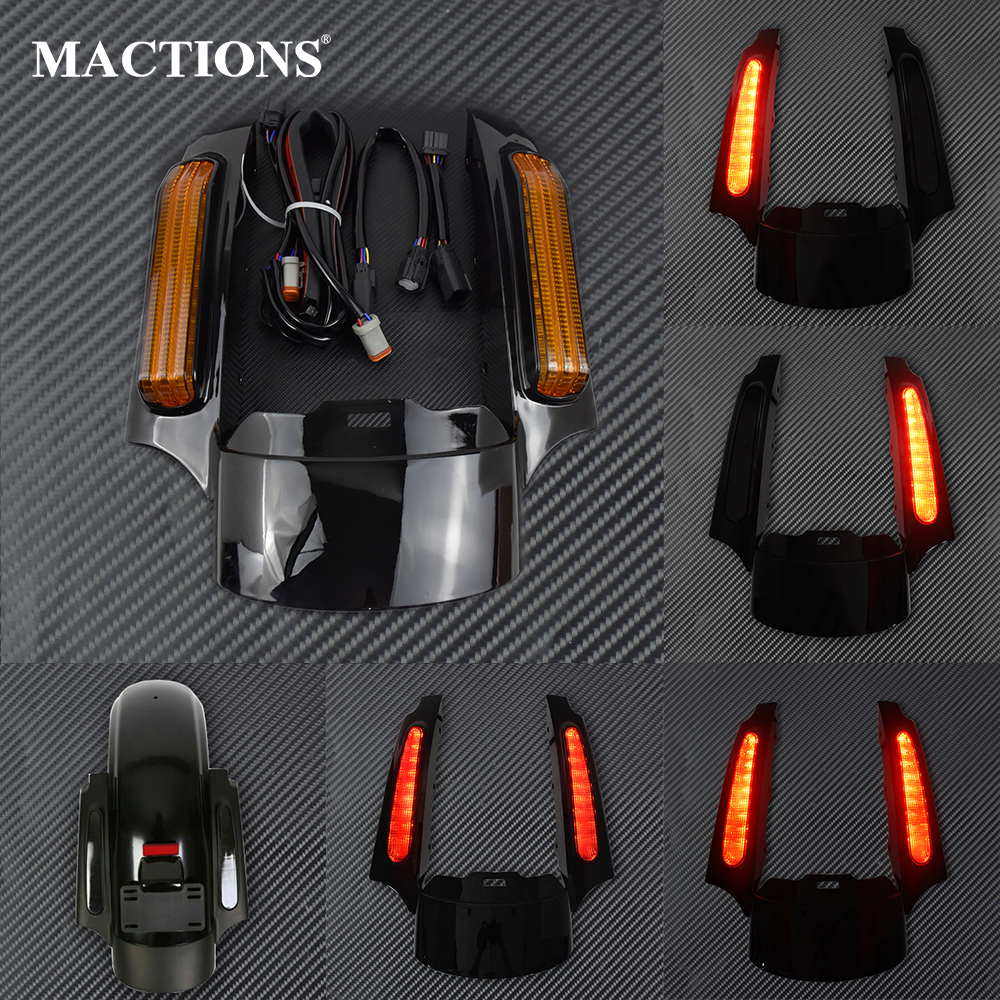 Motorcycle LED Light Rear Fender Extension Fascia Set For Harley Touring Electra Road Glide 2014 Up FLTRXS Ultra Limited FLHXCovers & Ornamental Mouldings   -
