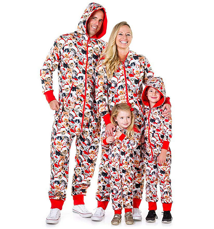 Christmas One-Piece Sleepwear Family Matching Pajamas Clothes Outfits Look Father Mother Kids & Baby Nightwear Christmas Pajamas