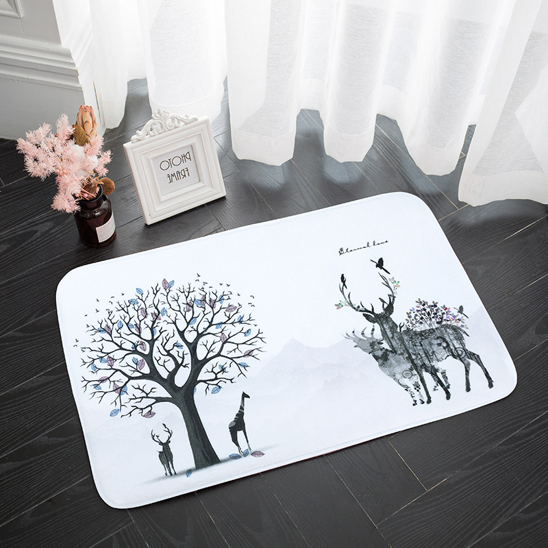 SHOLISA <font><b>Bathroom</b></font> Carpet Rug Bath <font><b>Mat</b></font> anti slip Simple Circular White <font><b>Deer</b></font> Embroidery Inexpensive 75cm*45cm image