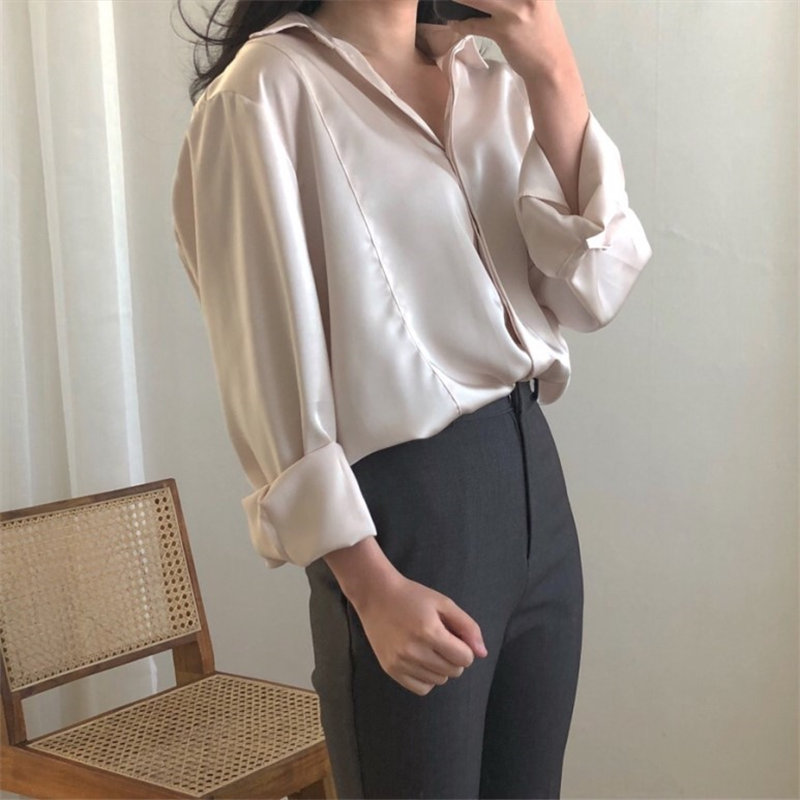 HziriP High Quality Minimalist Satin Solid 2020 Chic Streetwear Office Lady All-Match Vintage Loose Leisure Slim Casual Shirts