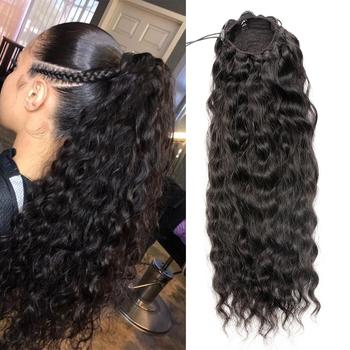 Aliballad Water Wave sznurek kucyk ludzki włos brazylijski z Afro dopinki na klips 4 grzebienie Remy naturalny falisty kucyk tanie i dobre opinie CN (pochodzenie) Nie remy włosy 100 g sztuka NONE FALISTE Na klipsy Realny kolor Brazylijskie włosy 100 Human Hair Exquisite Transparent Packaged Can Be Customize Label