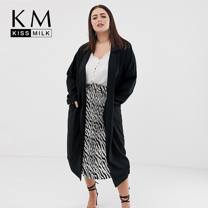 Kissmilk 2020 New Fashion Autumn Simple Casual Large Size Suit Collar Long Section Split Long Sleeve Windbreaker Jacket