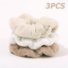 3Pcs/Set Furry Winter Warm Soft Hair Scrunchies Plush Elastic Hair Band Women Girls Ponytail Holder Rubber Band Hair Accessories