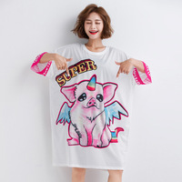 2019 Summer Large GIRL'S Western Style Crew Neck Cartoon Printing Short sleeved T shirt Summer Wear for Women Loose Fit Korean s