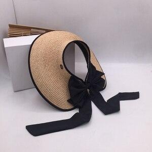 Image 4 - ラフィット草トップ帽子夏の韓国語バージョンのフォールディングサンシェードわら帽子リボン弓日焼け帽子太陽帽子