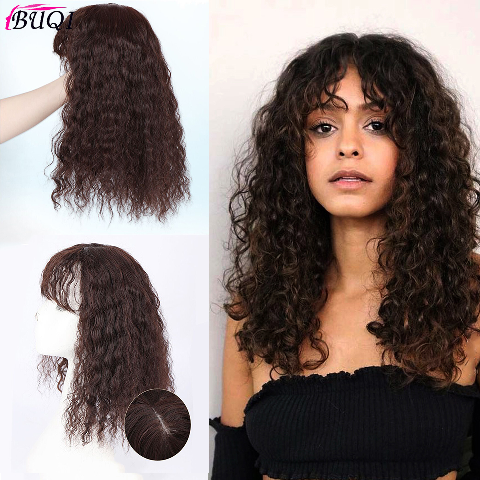 BUQI Fashion Curly Synthetic Hair Natural Color Bangs Top Hair Brown Black Color Hair Accessories For Women