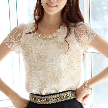 Women Tops Shirt Lace Blouses Short-Sleeve Embroidery Blusas Korean-Flowers Round-Neck