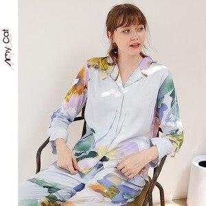 Image 4 - Mùa Thu 2019 Đùi Thun Bộ Đồ Ngủ cho Nữ Biển Bí Ẩn Sọc In Hình Đồ Ngủ Viscose Gợi Cảm Giấc Ngủ Nhà Quần Áo