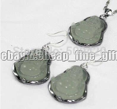 Darmowa wysyłka> najszlachetniejszy prawdziwy jasny zielonego jadeitu naszyjnik buddy zestaw kolczyków