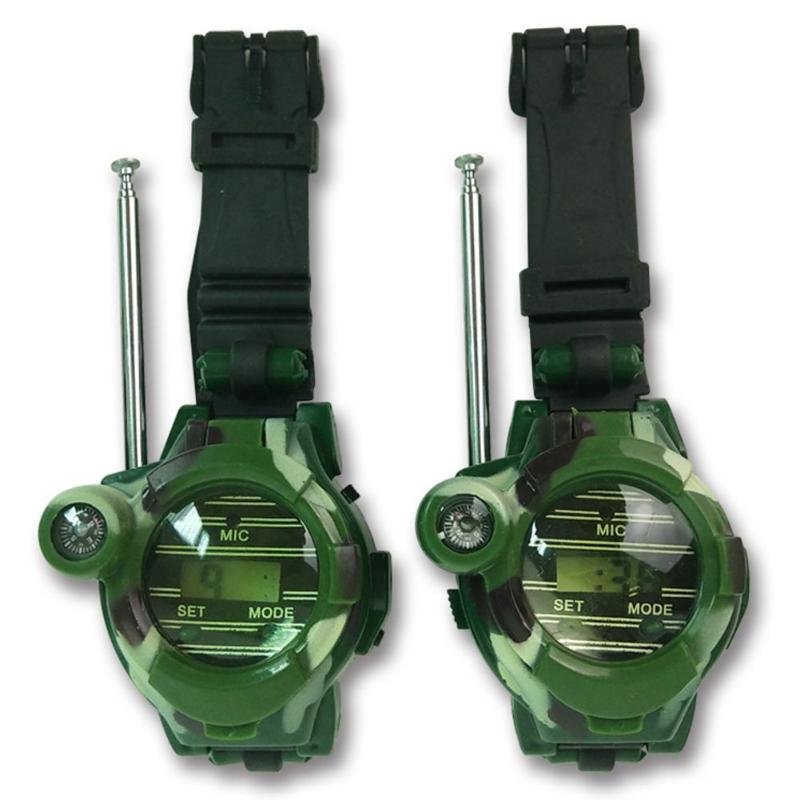 2 piezas niños simulación militar reloj intercomunicador electrónicos Walkie-Talkie niños interactiva portátil Radio de actividad al aire libre Juguetes