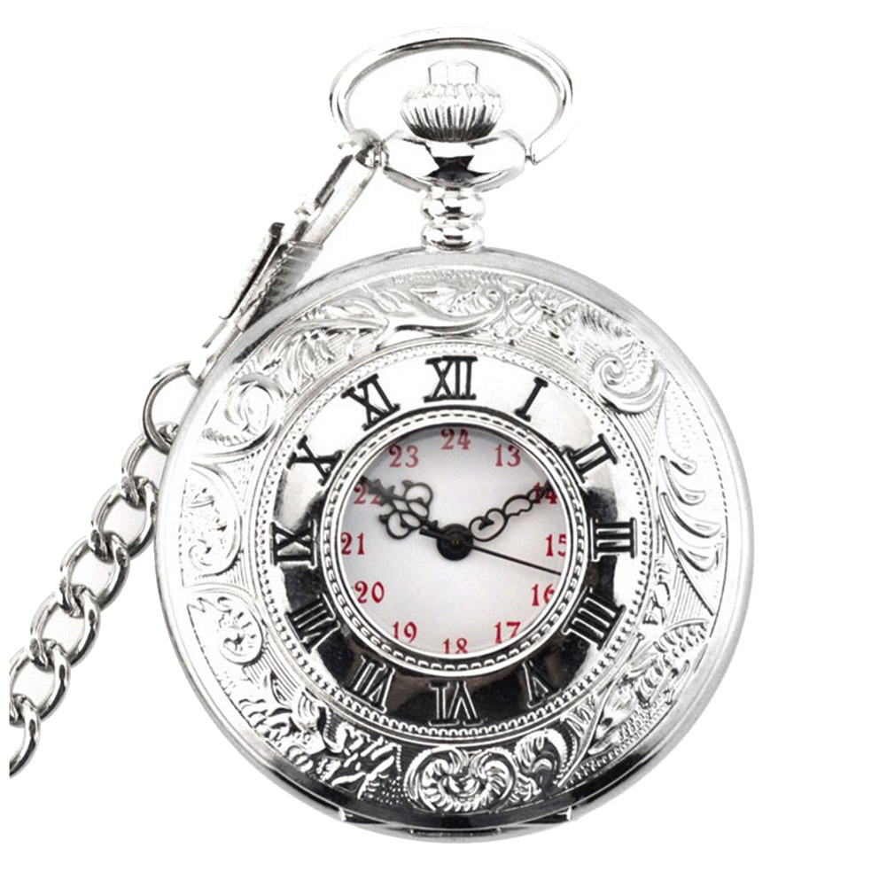 Retro Quartz Pocket Watch Round Chain Roman Numerals Gifts Portable For Women Men LL@17