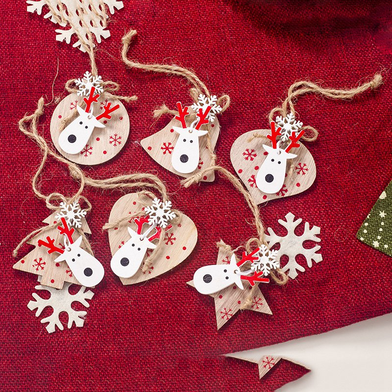 New 1 Set 6Pcs Christmas Decorations Ornaments Wooden Printing Ornaments Merry Christmas Doll Tree Pendants Ornaments Creative G