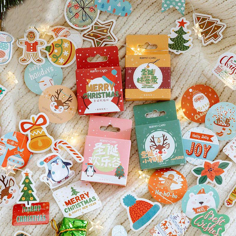 45 Pcs/Box Merry Christmas Sticker Cute Santa Claus Elk Sticker Kawaii Decoractive Sticker Diary Scrapbooking Stationery Sticker