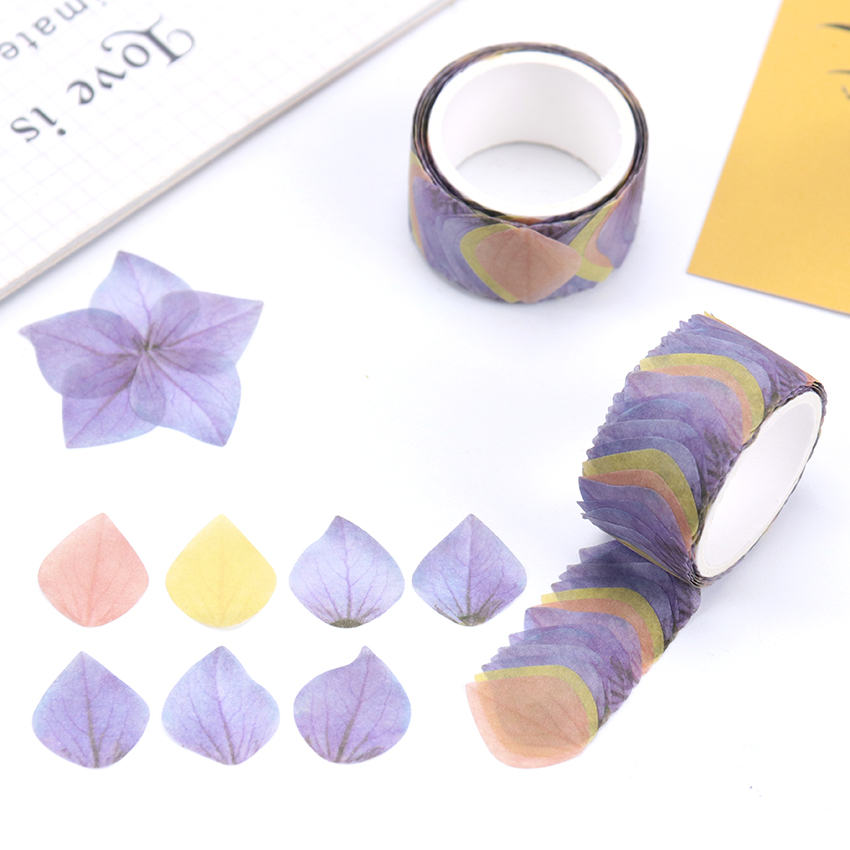 200PCS/Roll Sticker Adorable Flower DIY Scrapbook Petals Decal Tape Creative Adhesive Paper Tape Stationery