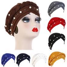 Nowe kobiety elastyczny Turban kapelusze muzułmańskie koraliki raka czepek dla osób po chemioterapii chusta na głowę pokrywa szalik Stretch Beanie Bonnet Indian Chemo utrata włosów