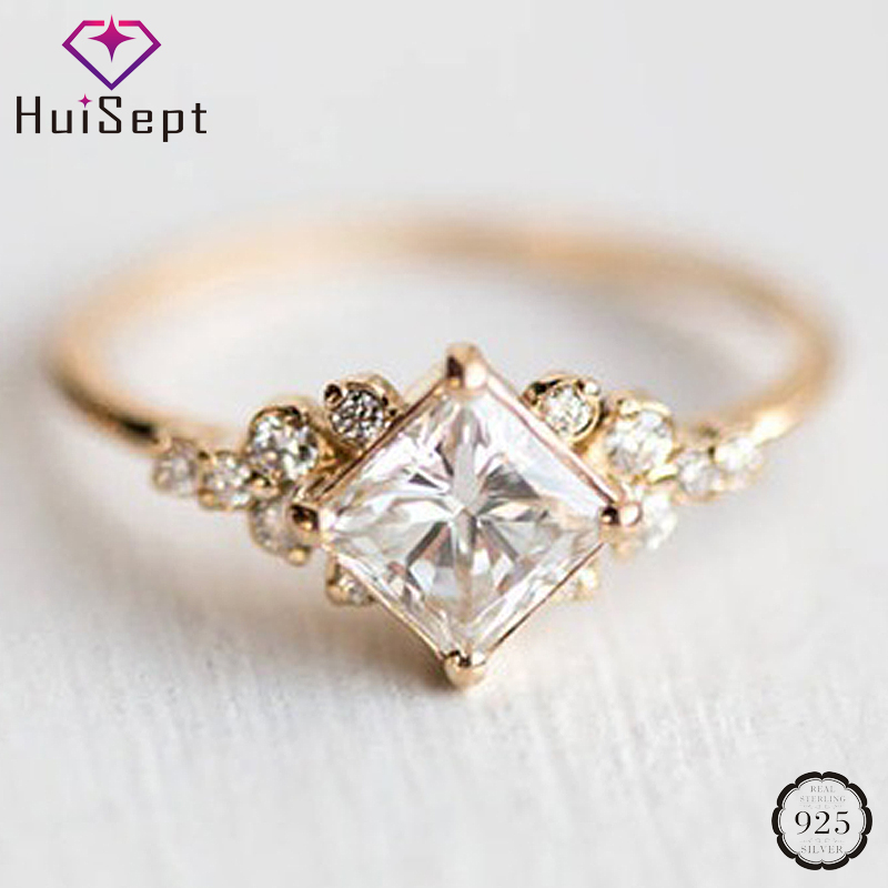 HuiSept Trendy Silver 925 Ring For Women Wedding Party Gift Geometric Shape AAA Zircon Gemstone Jewelry Ornament Rings Wholesale