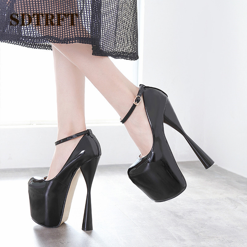 SDTRFT Round Toe Pumps Platform <font><b>women</b></font> <font><b>shoes</b></font> 20cm Thick heels zapatos mujer <font><b>sexy</b></font> Crossdresser Patent Leather Buckle SM Stiletto image