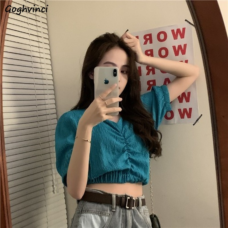 Women Blouses V-neck Summer Short Sleeve Solid Elegant Korean Style Womens 7 Colors All-match Chic Casual Tops Shirts Fashion