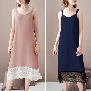 ZANZEA Women Nightdress Sexy Lace V-Neck Sleeveless Sleepwear Nightie Nightgown Solid Spaghetti Strap Home Dress Plus Size 5XL