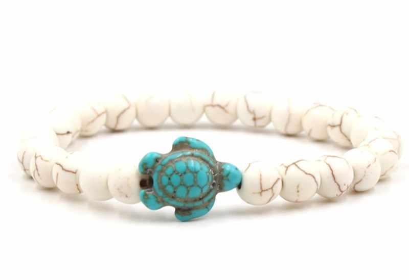 8 มม.h324 สีขาว Howlite ลูกปัดกำไลข้อมือ turquoise เต่าพระพุทธรูปสวดมนต์โยคะสร้อยข้อมือผู้หญิงผู้ชายหินธรรมชาติเครื่องประดับ