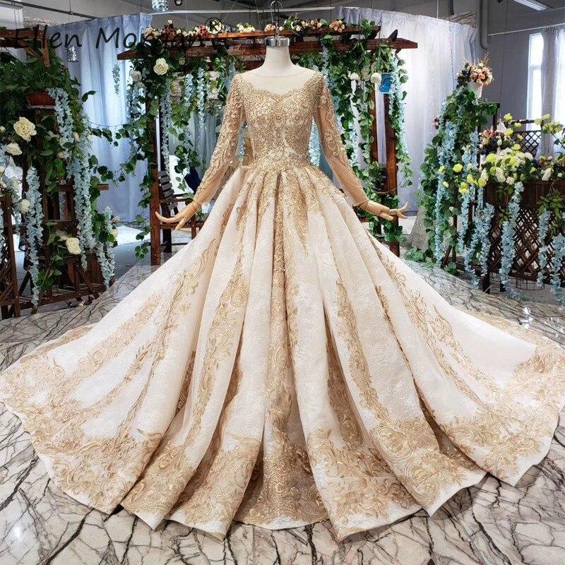 Moyen-orient Vintage manches longues robes De mariée or dentelle robes De bal col bateau Court Train Vestidos De Novia pour les femmes 2019