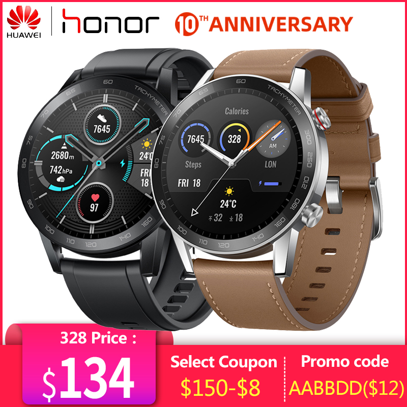 "GPS+Glonass Honor Magic 2 Watch Minos 46mm Smartwatch 1.39""AMOLED Always on Display 5ATM 14days Battery Life With Mic