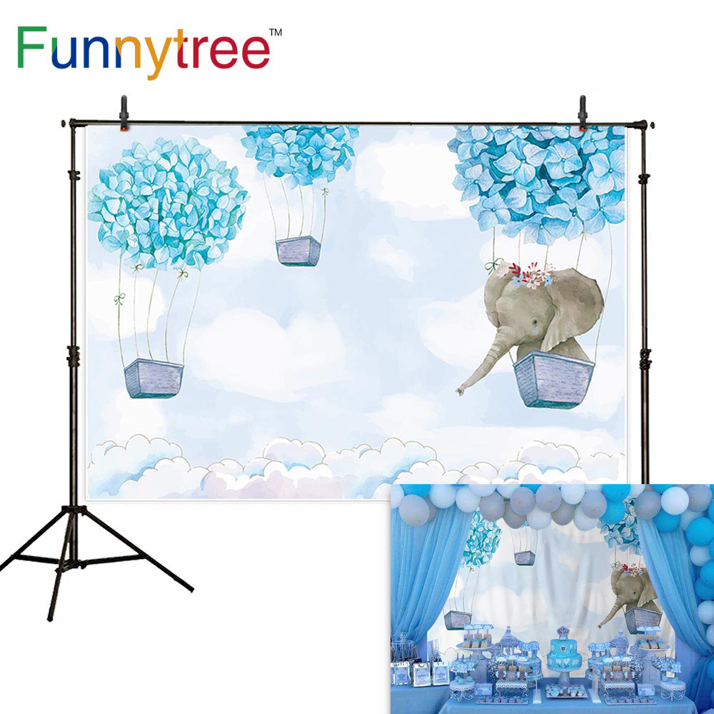 Funnytree party hot air balloon backdrop baby blue cartoon elephant birthday background for boy baptism flower custom photophone in Background from Consumer Electronics