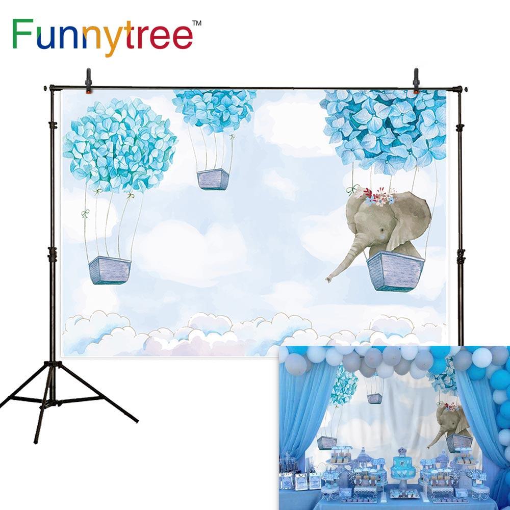 Funnytree party hot air balloon backdrop baby blue cartoon elephant birthday background for boy baptism flower custom photophone