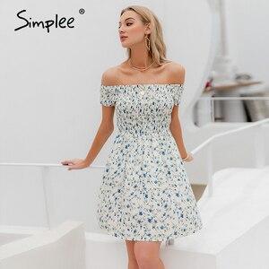 Image 3 - Simplee elegancka sukienka z odkrytymi ramionami dla kobiet mini sukienka w stylu Boho w kwiaty z nadrukiem kobieca sukienka z linii wiosna letnie wakacje plażowe sukienki damskie