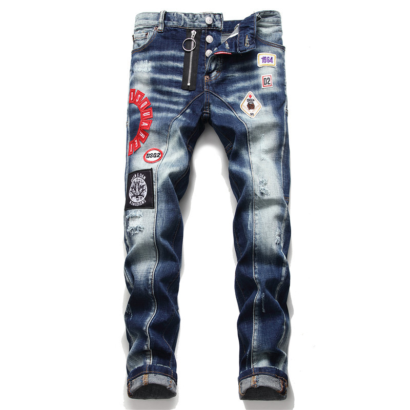 European American Style Fashion Brand Blue Men Jeans Pants Men Slim Jeans Patchwork Letter Moto & Biker Jeans Pants Hole Jeans